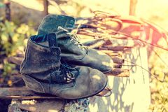 Old construction boots Royalty Free Stock Images