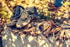 Old construction boots Royalty Free Stock Photos