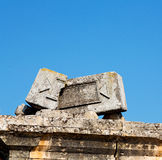 Old construction column    and the roman temple history pamukkal Royalty Free Stock Photos