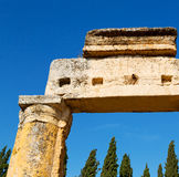 Old construction column    and the roman temple history pamukkal Stock Image