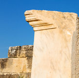 Old construction column    and the roman temple history pamukkal Stock Images