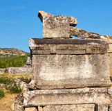 Old construction column    and the roman temple history pamukkal Royalty Free Stock Image