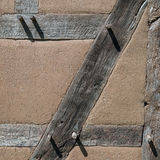 Old construction detail - wood and clai Stock Photo