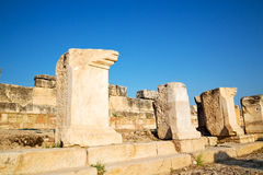 Old construction the roman temple    in asia turkey Royalty Free Stock Photos