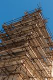 Construction scaffold restoring a church royalty free stock images