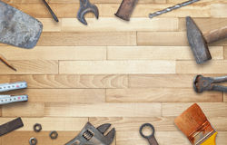 Old construction tools with free space for text stock image