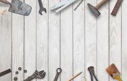 Old construction tools with free space for text.  stock photography