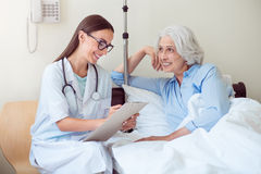 Old content woman and doctor Royalty Free Stock Photos