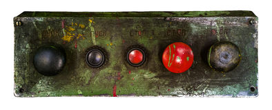 Old control box. Old control panel of soviet industrial machine Royalty Free Stock Image