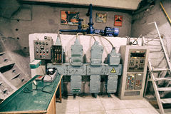 The old control equipment in the bomb shelter Stock Photos
