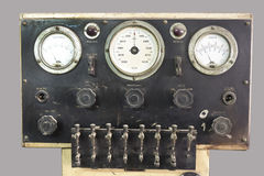 Old control panel with valves and gauges Royalty Free Stock Images