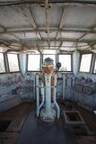 Old control room inside Decommission warship. stock images