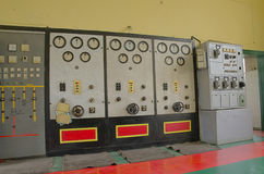 An old control room. Of an old power station Royalty Free Stock Photo