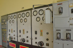An old control room. Of an old power station Royalty Free Stock Photos