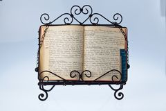 Old cookbook. An old, hand-written cook book with recipes. old recipes Royalty Free Stock Photo