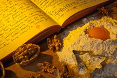 Old cookbook. An old, hand-written cook book with recipes. old recipes Stock Photography