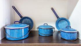 Old cooking pot, kitchenware  on white Stock Photos