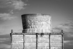 Old cooling tower black and white image Royalty Free Stock Image