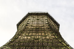 Old cooling tower of a power station, with white background Royalty Free Stock Photography