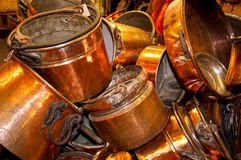 Old cooper pots and pans Stock Photos