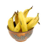 Old Copper Bowl Ripe Bananas Royalty Free Stock Images