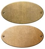 Old copper and brass oval metal plates with clipping path 3d illustration. Old copper and brass oval metal plates or nameboards Stock Image
