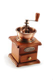 Old copper coffee grinder on white background Stock Image