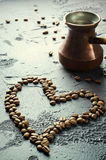 Old Copper Coffee Pot And Beans On Dark Rustic Background