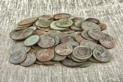 Old copper coins. In a patina Royalty Free Stock Photo