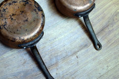 Old copper cooking pot Stock Photos