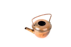 Old copper kettle on a white background Royalty Free Stock Photo