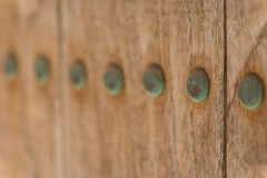 Old Copper Nails on Wood Stock Photo