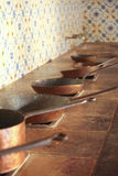 Old copper pans royalty free stock image