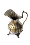 Old copper pitcher on white. Background Royalty Free Stock Images