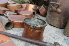 Old copper pot for water Stock Image