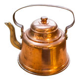 Old copper teapot on wooden table Stock Images