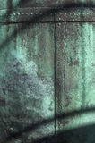 Old copper. Texture of green corrosion on surface of old copper royalty free stock photos