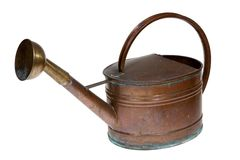 Old copper watering can Stock Image