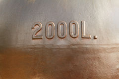 Old copper wine tank fragment Stock Photo