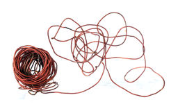 Old copper wire recyclable materials. On white background Stock Photo
