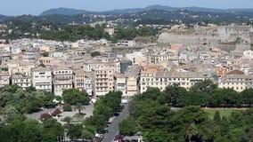 Old Corfu town cityscape stock video