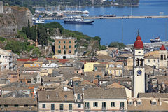 Old Corfu town with port Stock Image