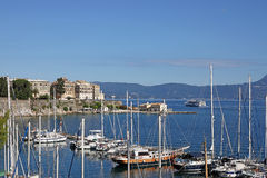 Old Corfu town port Royalty Free Stock Photography