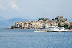 Old Corfu town with the Venetian Old Fortress in Greece Stock Photo