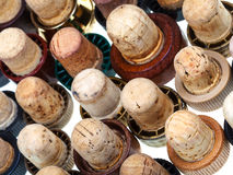 Old corks from strong drinks Stock Photo