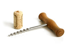 Old corkscrew and cork Stock Photos