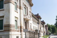 Old corner building. Salsomaggiore Italy Stock Image