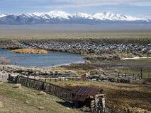 Old corral and pond in north central Nevada Royalty Free Stock Image