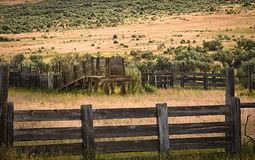 Old Corral In Sagebrush. Landscape In Colorado Stock Photos