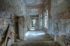 Old corridor in the sanatorium at Beelitz Stock Image